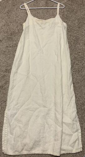 Vtg Hyacinth Linen Ivory Terry Long Strappy Dress
