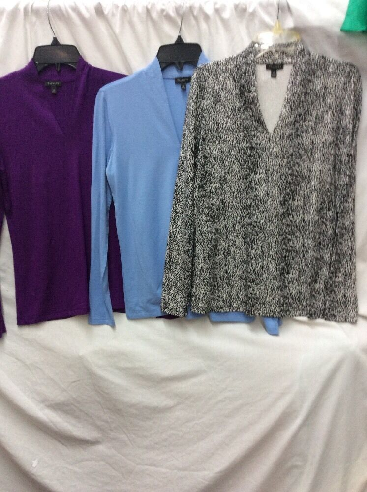 LOT OF 3 TALBOTS SIZE XS LONG SLEEVE MULTI-COLOR BLOUSE TOPS