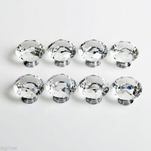 10pcs Door Knob Antique Tint Glass Handle Crystal Drawer Pull Cabinet Wardrobe x