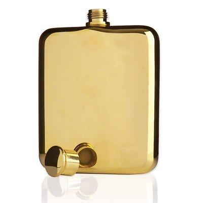 Viski Belmont 14k Gold Plated Flask 6 oz Premium Quality Liquor Container