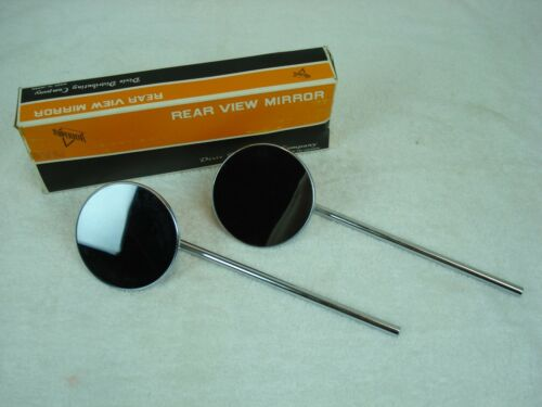 """NOS UNIVERSAL 10/"""" STEM CHROME MOTORCYCLE MIRROR SET CLAMP-ON 1/"""" or 7//8/"""" bars"""