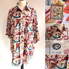 Vintage Mens 80s Patterned Baggy Oversized Shirt 44/46 Chest Grunge Festival