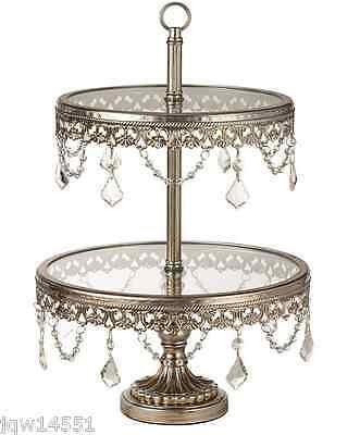 2-Tier Cake Stand Wedding Buffet Silver Dessert Pastry  Serving  Cupcake Vintage