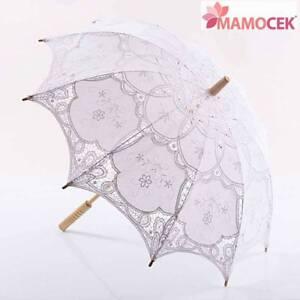fd1ce0485cd7 Caricamento dell immagine in corso OMBRELLO-ombrellino-PARASOLE -Macrame-Pizzo-Bianco-sposa-vetrine-