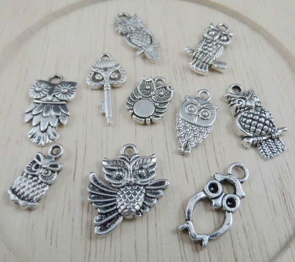 20pcs Tibetan silver bird owl Charm Pendant beaded Jewelry 20mm