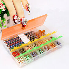 New Empty Storage Container Box For Nail Tips Rhinestone Brushes