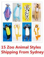 Adult Kids Unisex Onesies Kigurumi Animal Pajamas Cosplay Costume Sleepwear Zoo