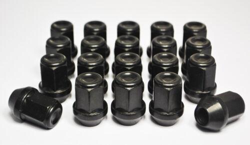 Ensemble de 20 x m12 x 1,25 19mm hex alliage écrous de roue noir