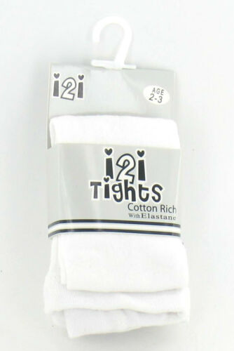 9-10 5-6 7-8 3-4 GIRLS i2i COTTON RICH PLAIN TIGHTS WITH ELASTANE AGE- 2-3