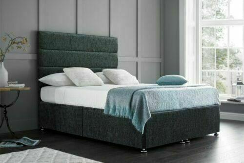 NEW CHENILLE MEMORY DIVAN BED SET ALL SIZEZ 3FT 4FT 4FT 6 5FT 6FT