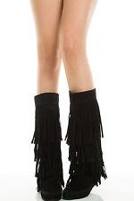 Moc Round Toe 4 Layer Fringe Tassel Moccasin Womens Mid Calf Knee High Flat Boot