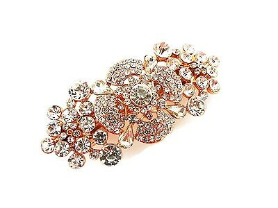 Beautiful Rose Gold Barrette Hair Clip Grip Vintage Look Flower Design small