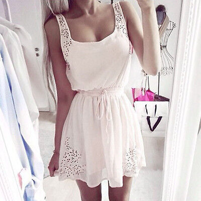 Sexy Women Casual Sleeveless Chiffon Cocktail Party Summer Beach Mini Dress