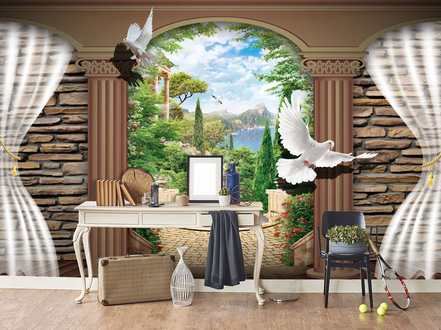 3D Wishing pool bird Wall Paper wall Print Decal Decal Decal Wall Deco Indoor wall Mural ff70ab