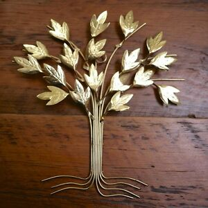 Vintage Mid Century Modern Gold Tone Brass Metal Small Tree Floral Wall Hanging