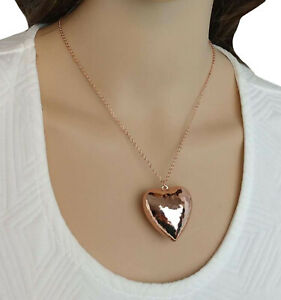 "Large Silver Tone Faceted Puffy Heart Pendant Necklace 18/"" Made in USA"