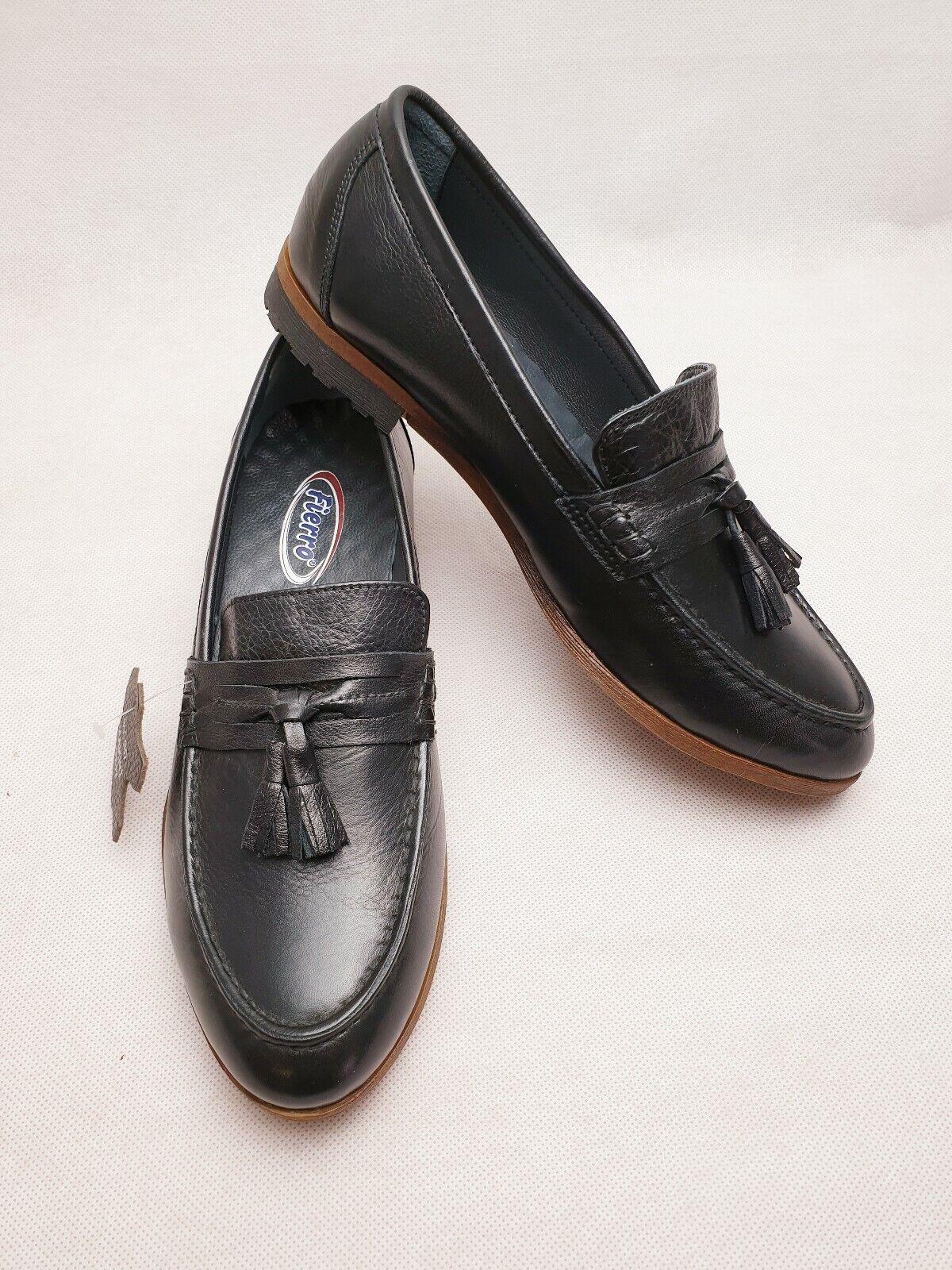 FIERRO 1706 Black Leather Flat Tassel Work Office Casual Women Loafers Size Uk 5