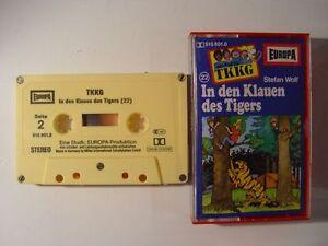TKKG-22-In-den-Klauen-des-Tigers-gelbe-Mc-Kassette-5fach-geschraubt-EUROPA