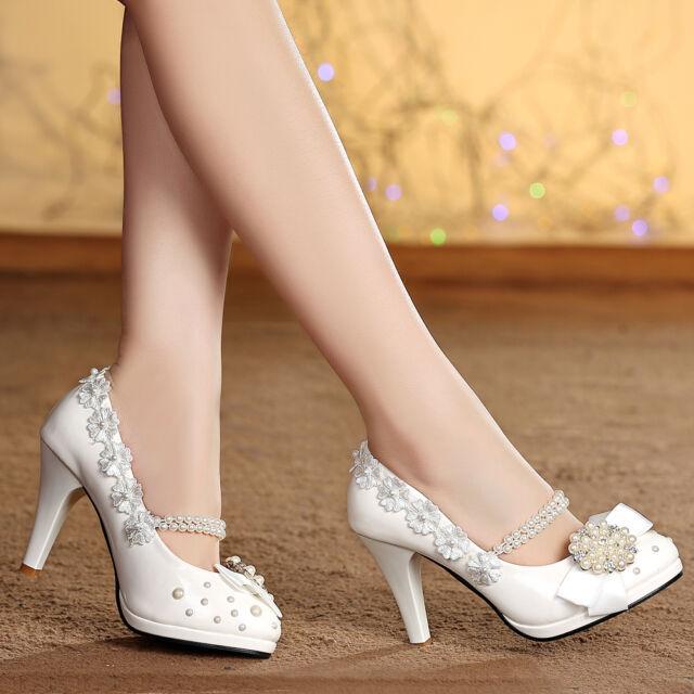 Vingate Bowknot Heels Handmade Pearl Across Women Wedding Shoes Pumps