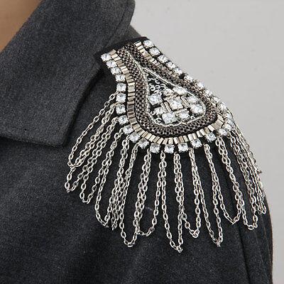 Metal Rhinestone Crystal Cloth Chain Brooch Epaulet Shoulder Board Mark
