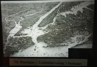 Altes Glas Dia Th. Benzinger: New York Gesamtbild Relief Ausgezeichnete (In) QualitäT