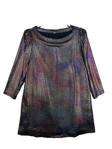 Free People Womens 3/4 Sleeve Round Neck Long Sleeve shift Dress Size S