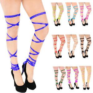 "137"" Women Metallic Thigh High Leg Wraps Straps Stretchy Dance Rave Club Wear"