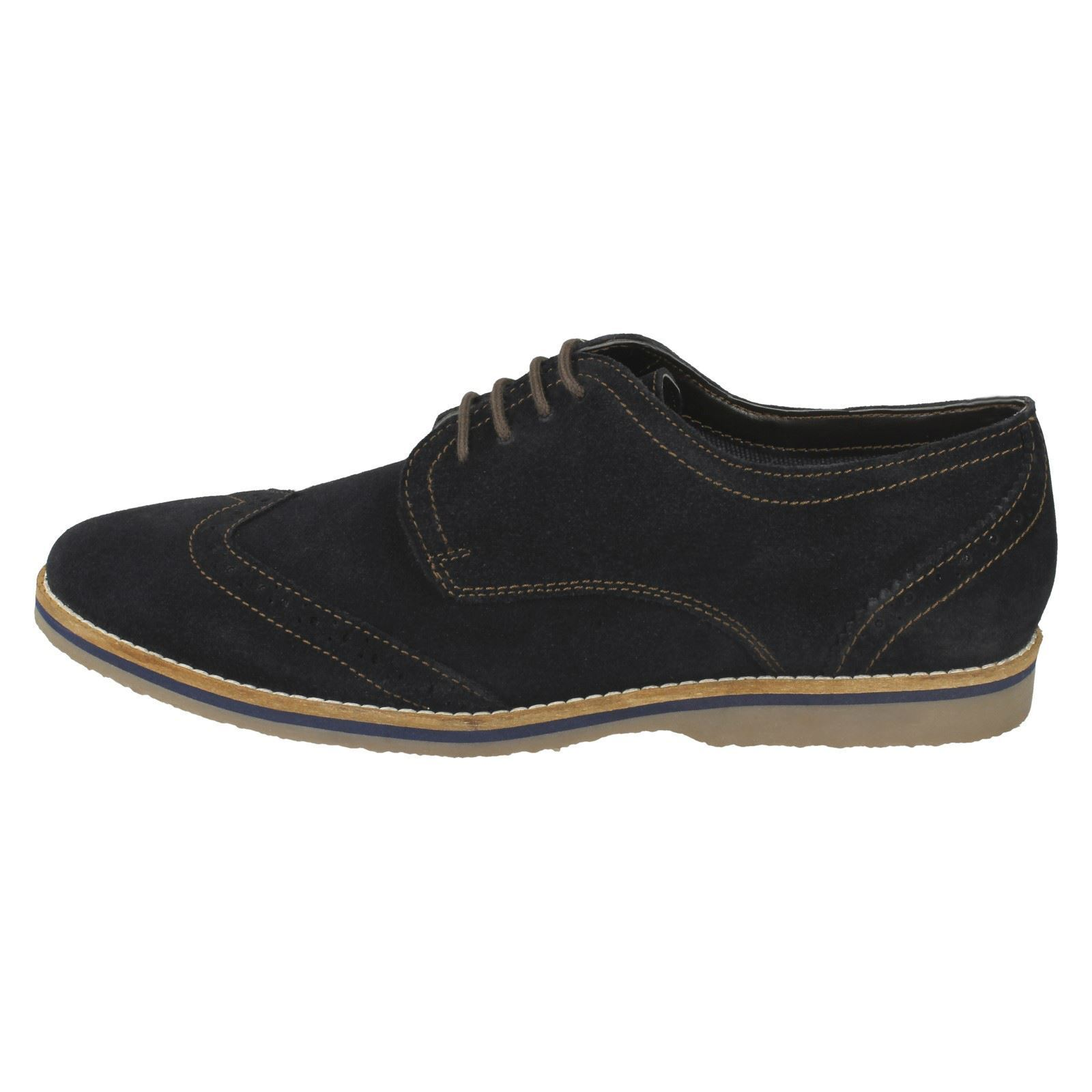 Uomo Navy Suede Leder Puppies Lace Up Brogue Hush Puppies Leder Schuhes Sebastian Wing Tip e65cc6