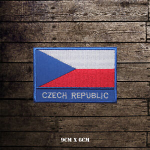 Czech-Republic-National-Flag-With-Name-Embroidered-Iron-On-Sew-On-Patch-Badge