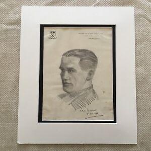 Originale Disegno Schizzo Ritratto Di Un Gentleman Firmato Chelsea London Kings
