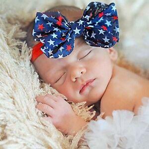 Star Baby Girl Bow Knot 4th Of July Headband Turban Amercian Flag Hairband