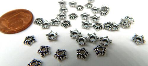 200 Mini Perles Bouchons Argent CA 5 mm petit 5,5x2mm Perlkappen métal argent antique