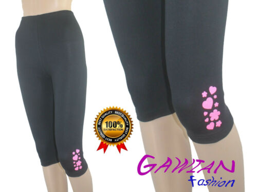 Girls Glitte 3//4 Length Cropped Leggings Cotton Summer age 4M to 14 Years Baby