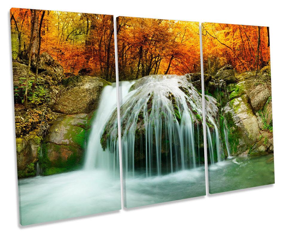 Forest Landscape Waterfall River TREBLE CANVAS Wand Kunst Box Framed Drucken