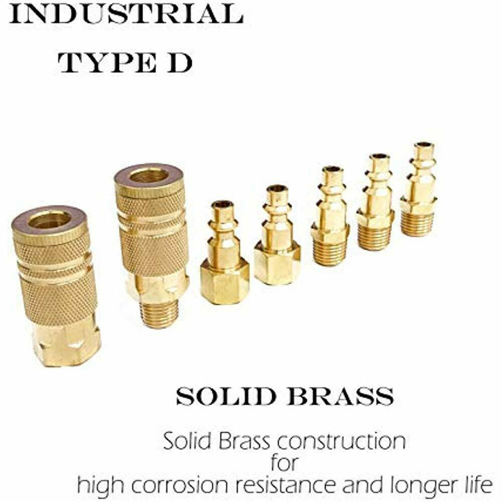 NPT 12 Piece Solid Brass Quick Connect Air Fittings Set Tanya Hardware Coupler and Plug Kit 1//4 in Industrial Type D