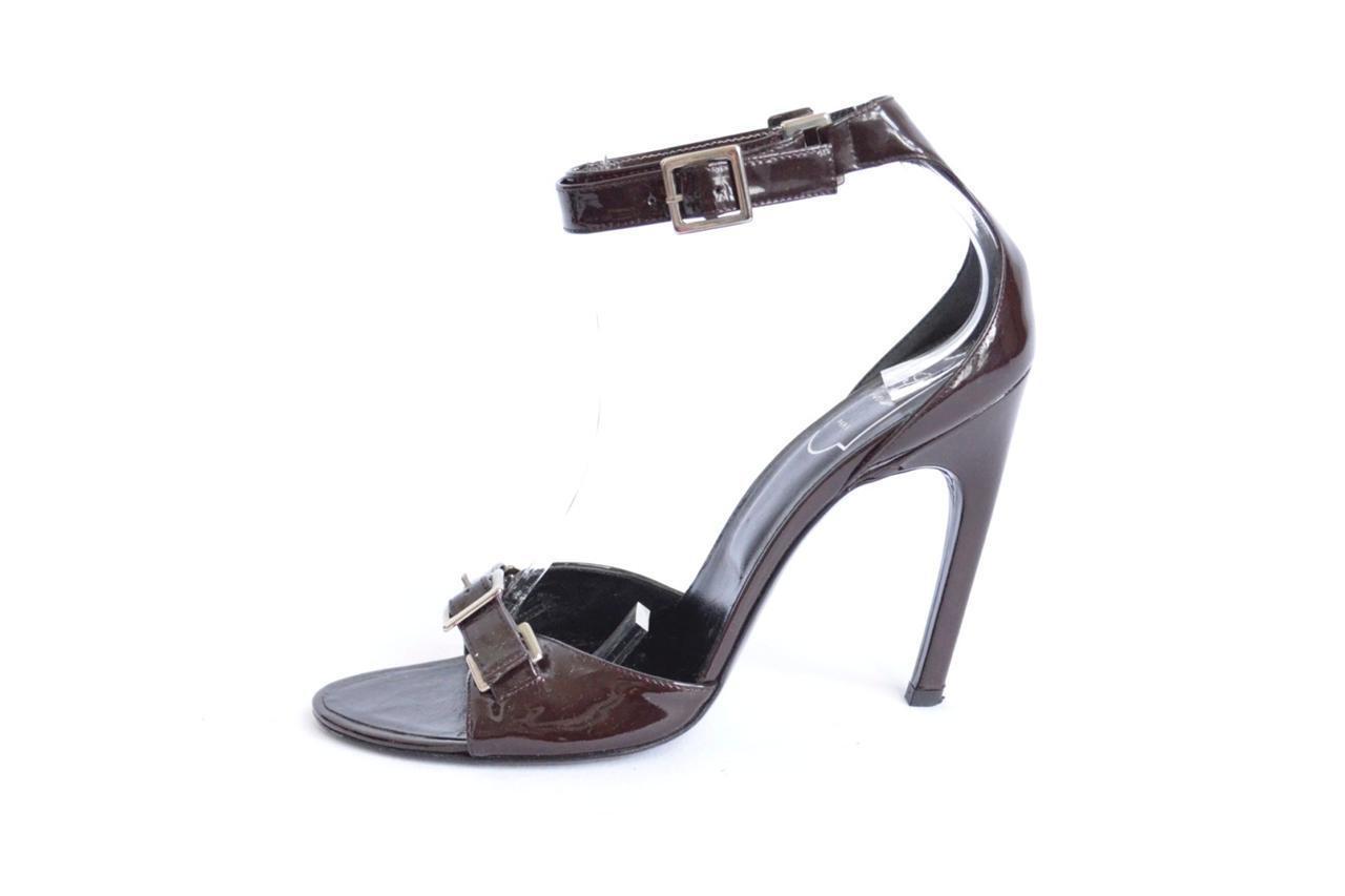 wholesape economico ROGER VIVIER Marrone Patent Ankle-Strap Buckle High High High Heel Pump SEXY Sandal 8.5-38.5  connotazione di lusso low-key
