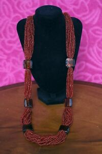 VINTAGE-multi-strand-RED-Glass-Bead-Jewellery-NECKLACE-36