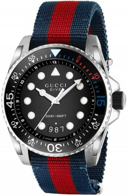 9c3b9d27738 New Gucci Dive XL Sport Black Dial Nylon Strap Men s Watch YA136210