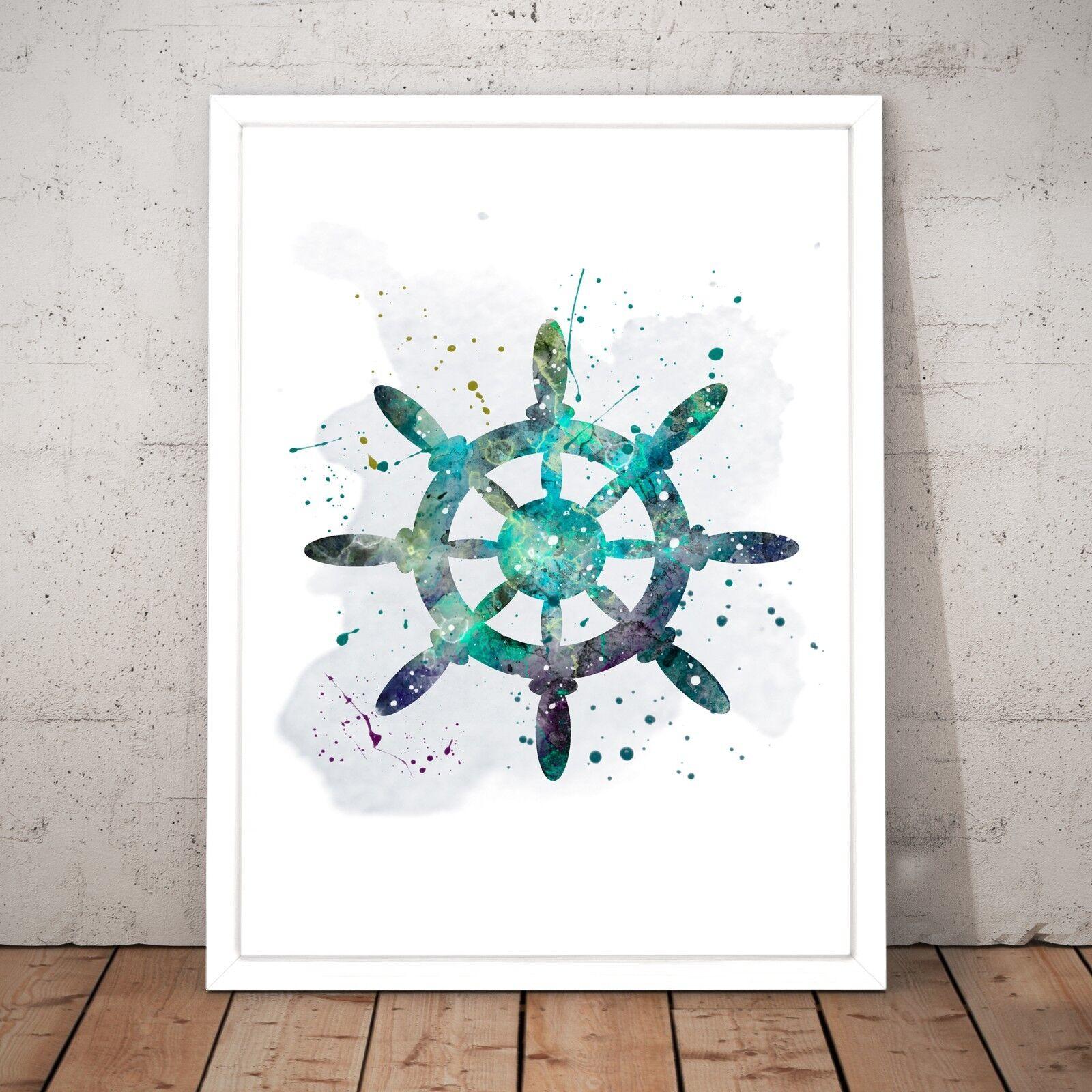 Boat Wheel Nautical Sailing Ship Unique Art Poster Print - A3 A2 A1 A0 Framed