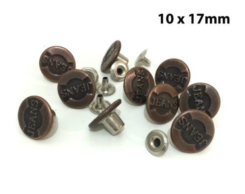 """Vintage Bronze Hammer On Jean Stud Buttons with Pins 10 x 17mm 43//64/"""""""