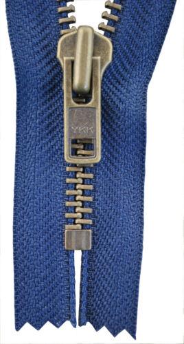 YKK Reißverschluss von 20-40 cm 8 mm metall  marine blau 1 Weg unteilbar