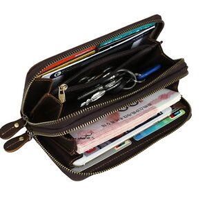 Men-Genuine-Leather-Large-Wristlet-Wallet-Zip-Around-Clutch-Purse-iPhone-Wallets