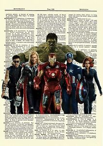 The-Avengers-Dictionary-Art-Poster-Picture-Hulk-Iron-Man-Thor-Captain-America
