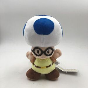 Details about New Super Mario Bros Blue Toad with Glasses and Backpack  Plush Toy Stuffed 8