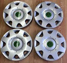 """Volkswagen 16"""" GREEN VW Logo Wheelcover Hubcap SET"""