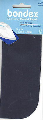 """BONDEX NAVY TWILL 5"""" x 7"""" IRON ON MENDING PATCHES (2 Pc),Clothing, Repair, Mend"""