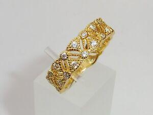 Victorian-Design-Damen-18-Karat-Gold-amp-925-Silber-Weiss-Saphir-Eternity-Ring