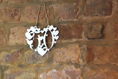 50th Anniversaire Cadeau Blanc Love Wall Hanging Heart décoration 50 Fifty Signe