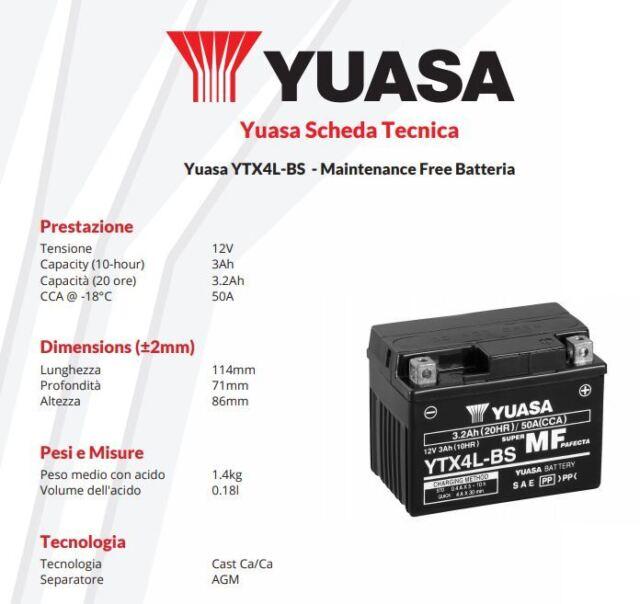 MOTORCYCLE BATTERY YUASA YTX4L-BS Kymco Yup - 50 cc - years: 2002 >2003