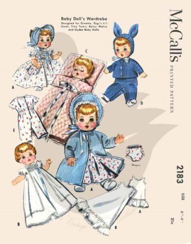 Riproduzione vintage baby Bambole Armadio Sewing Pattern m2183